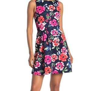 Floral Sleeveless Scuba Fit & Flare Scuba pocket